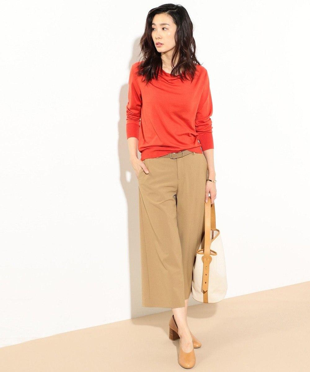 J.PRESS LADIES 【洗える】天竺カラー ドレープネックニット ピンク系