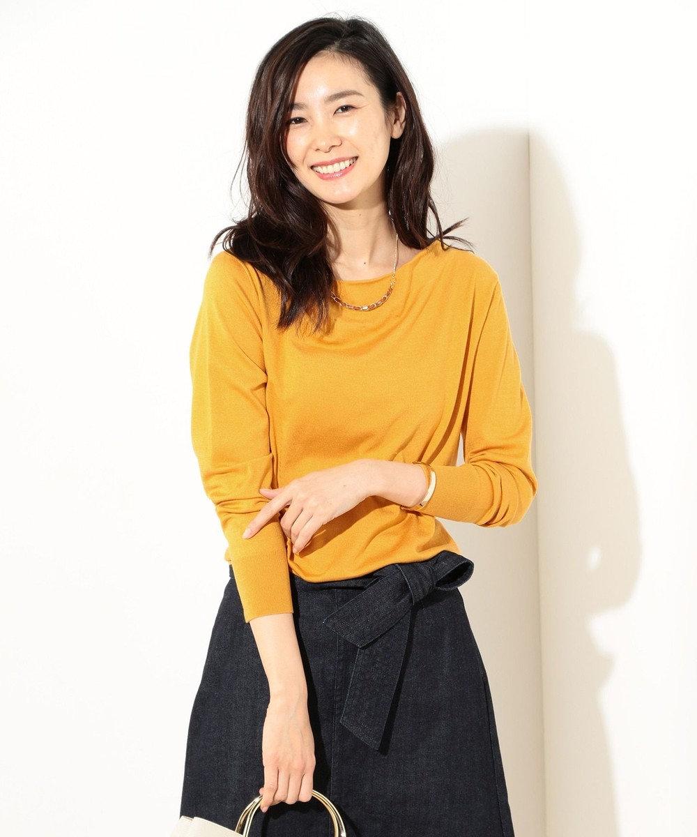 J.PRESS LADIES 【洗える】天竺カラー ドレープネックニット イエロー系
