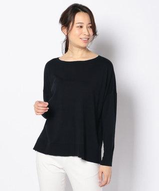 J.PRESS LADIES S 【洗える】天竺カラー ボックスシルエットニット ネイビー系