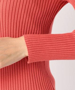 J.PRESS LADIES L 【洗える】コットンシルクリブ Vネックカーディガン ピンク系