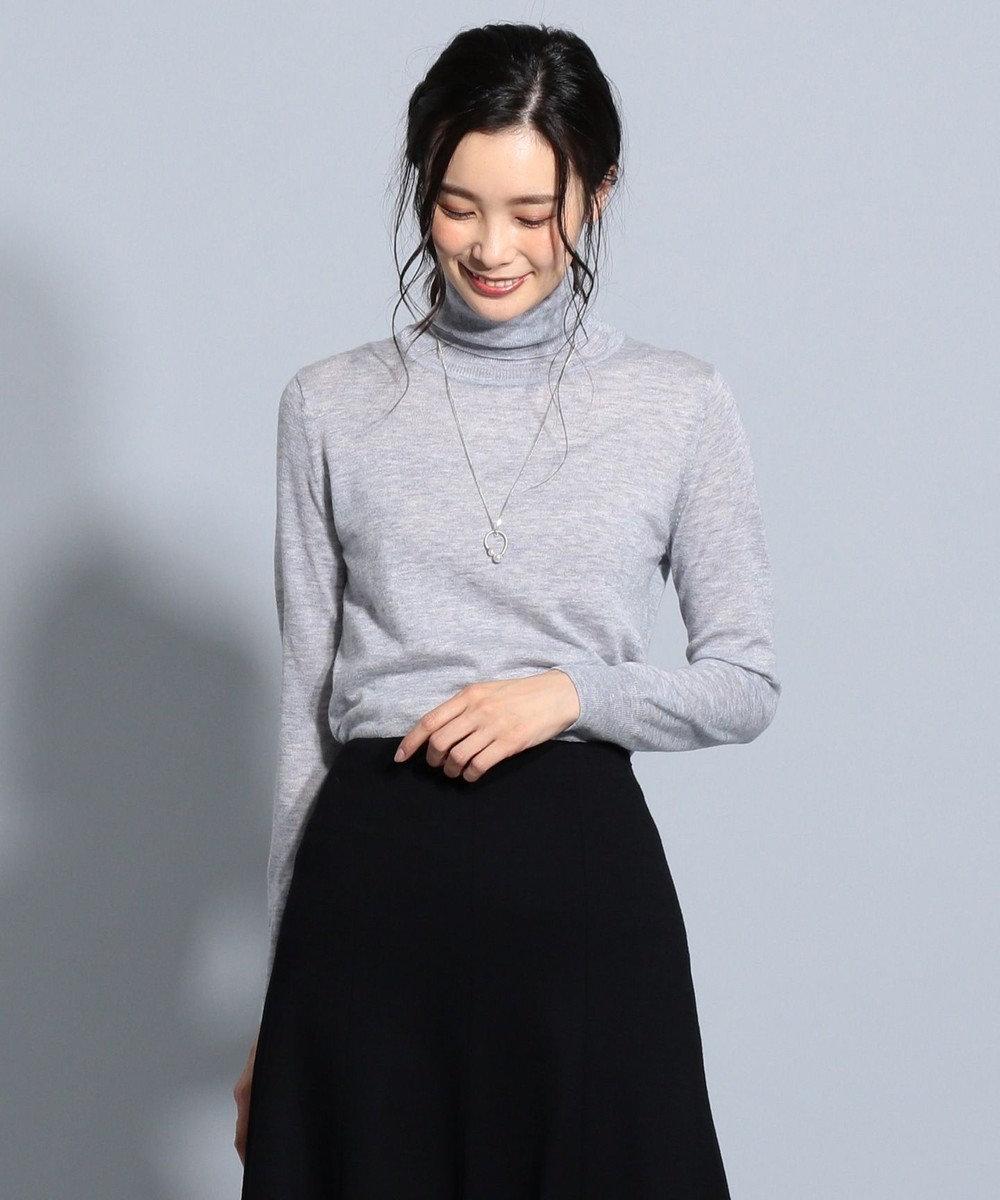 J.PRESS LADIES 【洗える】セミ梳毛 タートルネックニット ライトグレー系