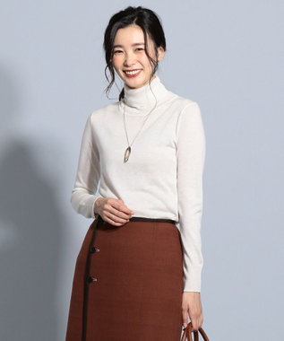 J.PRESS LADIES 【洗える】セミ梳毛 タートルネックニット アイボリー系