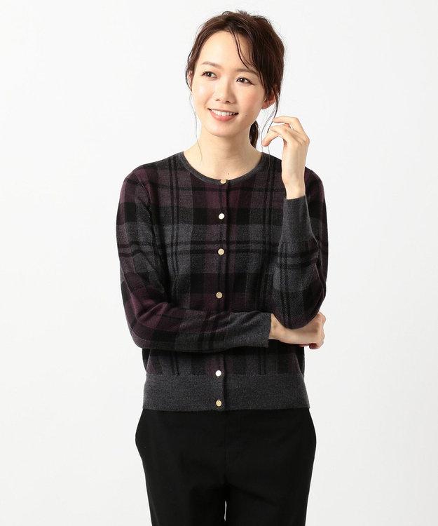 J.PRESS LADIES L 【WEB限定】チェックジャカードニット カーディガン