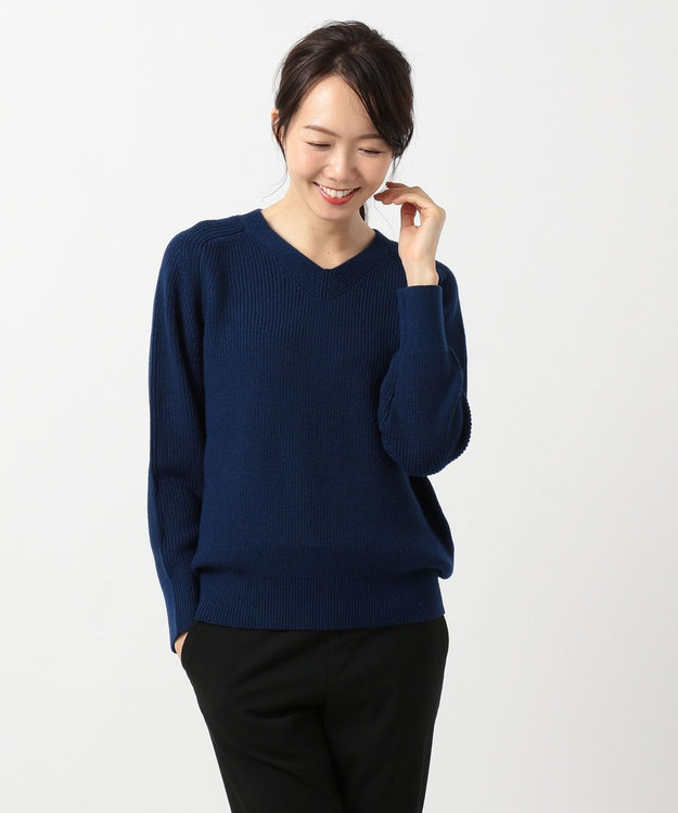J.PRESS LADIES S 【WEB限定】片畦Vネックプルオーバー ニット