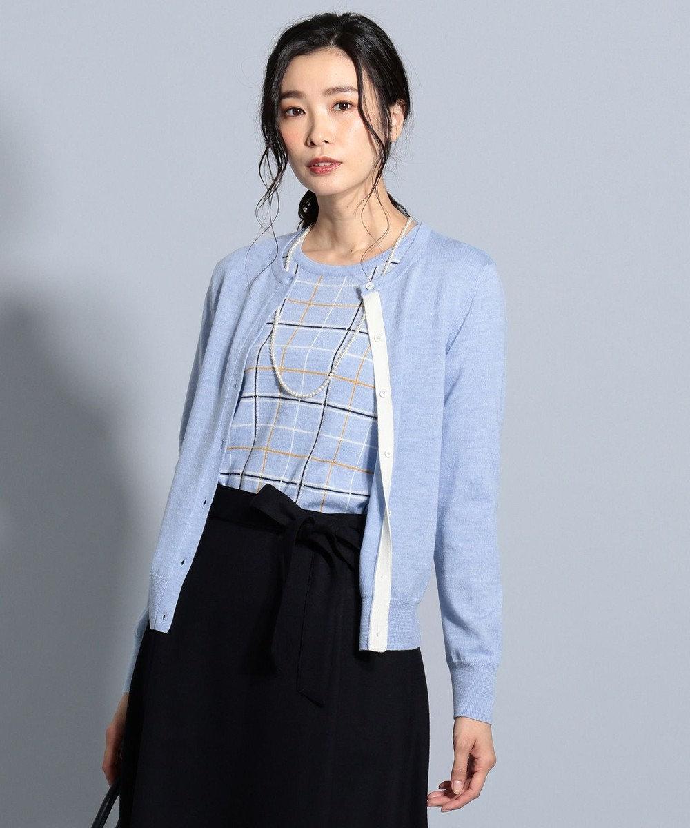 J.PRESS LADIES S 【洗える】チェックツイン アンサンブル ブルー系