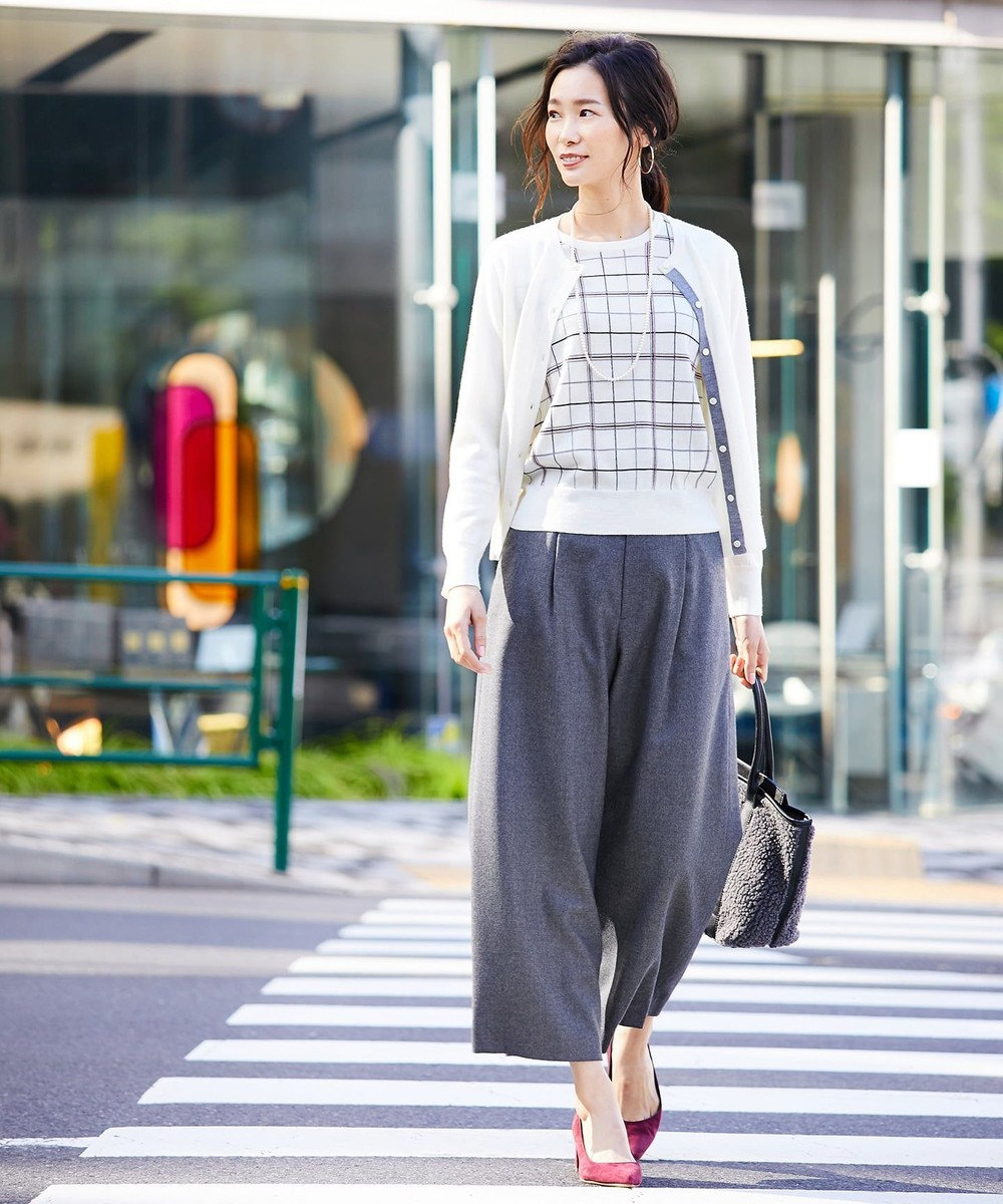 J.PRESS LADIES S 【洗える】チェックツイン アンサンブル アイボリー系
