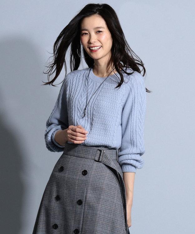 J.PRESS LADIES L 【洗える】フィッシャーマン ニット