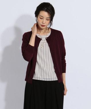 J.PRESS LADIES 【洗える】2WAYレングスシャドー ツインセット パープル系