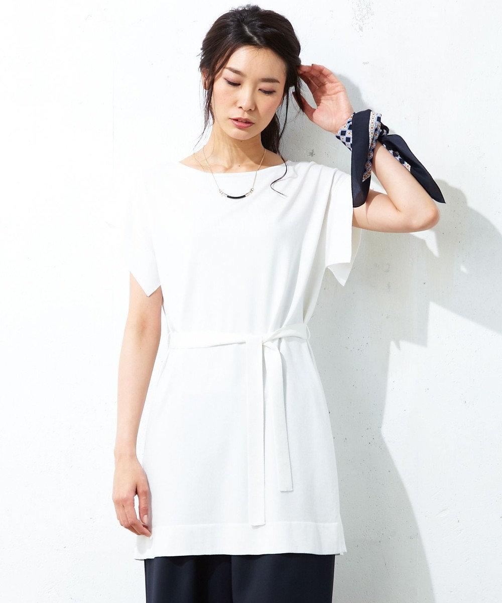 J.PRESS LADIES L 【洗える!】テンセルコットンシルク ロングニット ホワイト系