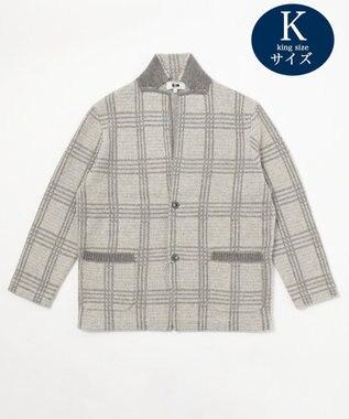 JOSEPH ABBOUD 【キングサイズ】ムースジャガードチェック 羽織りニット ライトグレー系4