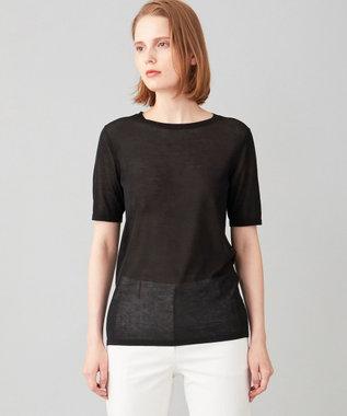 JOSEPH 【洗える】シルクコットンライト 半袖 Tシャツ ニット ブラック系