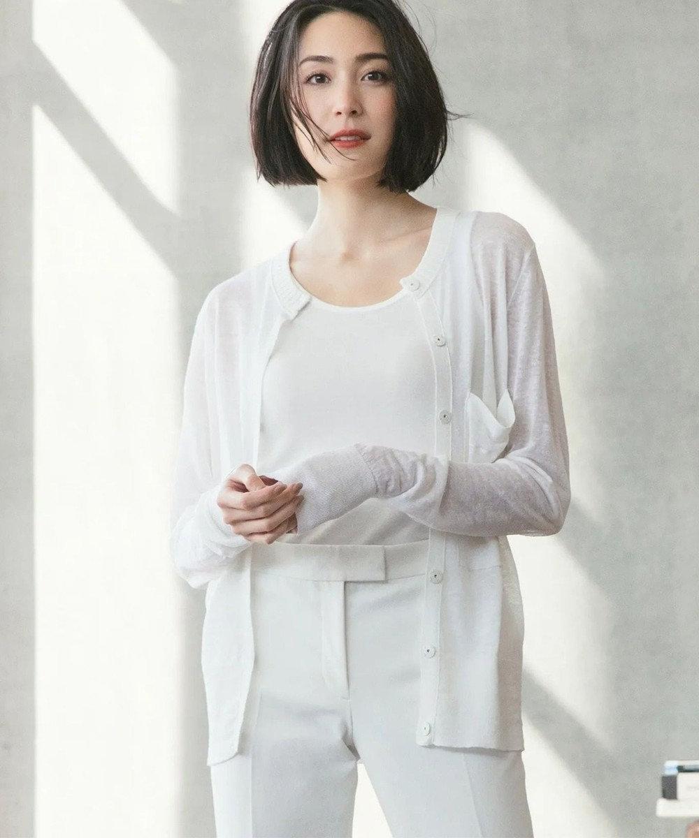JOSEPH 【洗える】シアーリネン ショートカーディガン ホワイト系