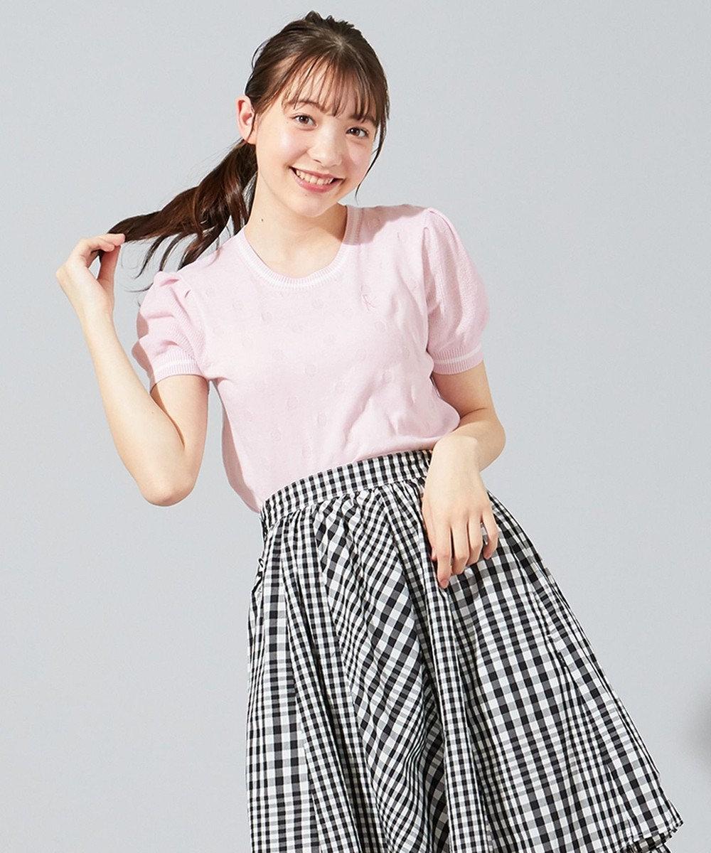 組曲 KIDS 【150-160cm】ライン入りドット プルオーバー ピンク系