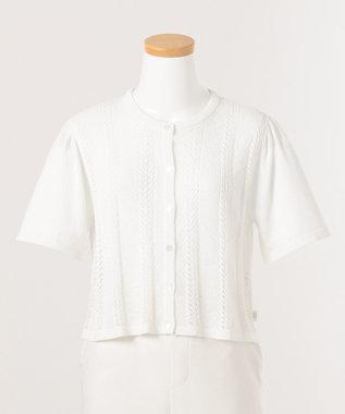 組曲 KIDS 【150-170cm】透かし柄 半袖カーディガイン ホワイト系