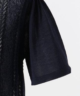 組曲 KIDS 【150-170cm】透かし柄 半袖カーディガイン ネイビー系