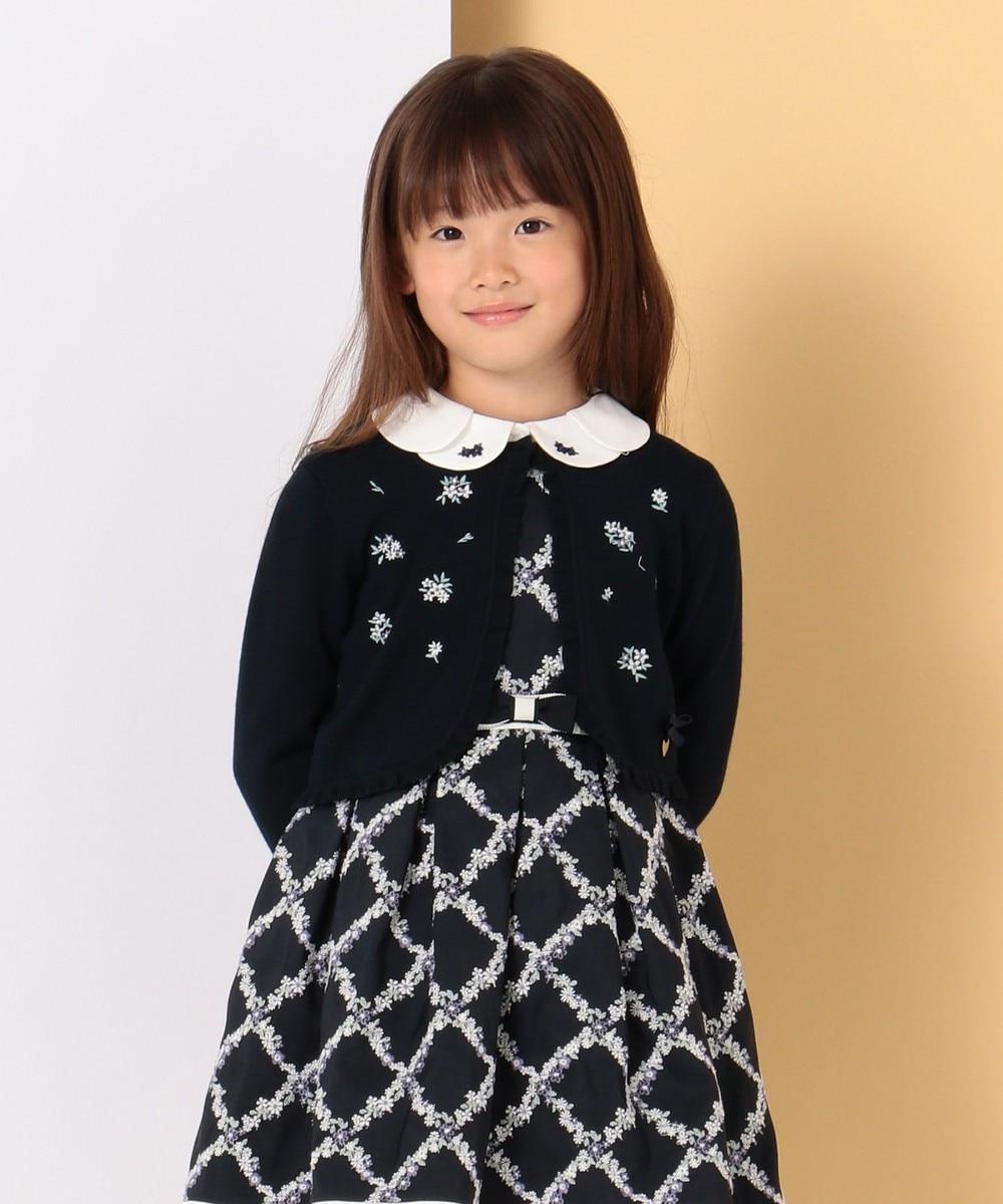【ひなちゃん着用/110-140cm】プチフラワー刺繍 カーディガン