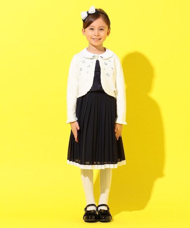 組曲 KIDS 【ひなちゃん着用/110-140cm】プチフラワー刺繍 カーディガン