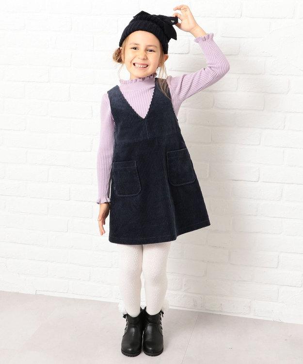 組曲 KIDS 【110~140cm】ハイネックフリルリブ ニット