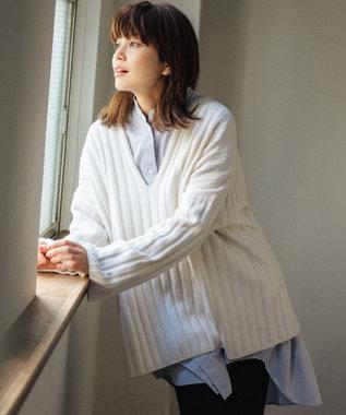 #Newans 【マガジン掲載】カシミヤブレンドバルキーVネックニット(番号NW66) ホワイト系