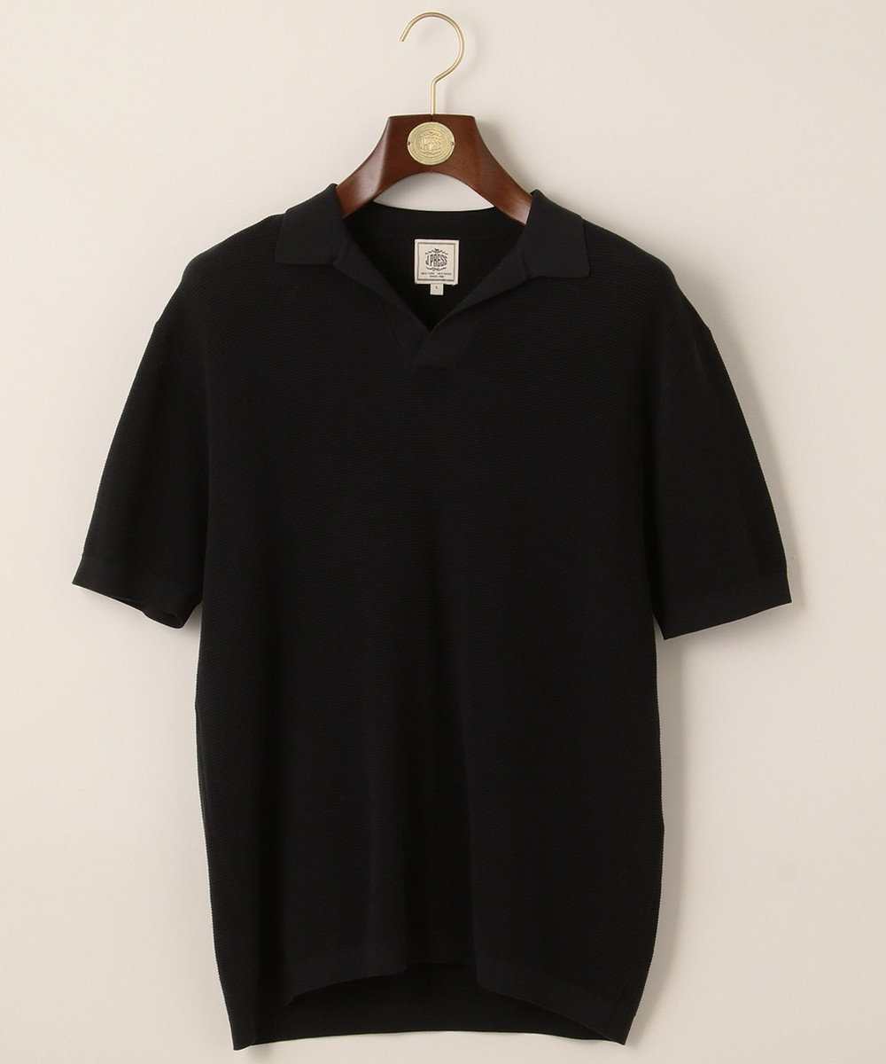 J.PRESS MEN ハイゲージスキッパー ニットポロシャツ ブラック系