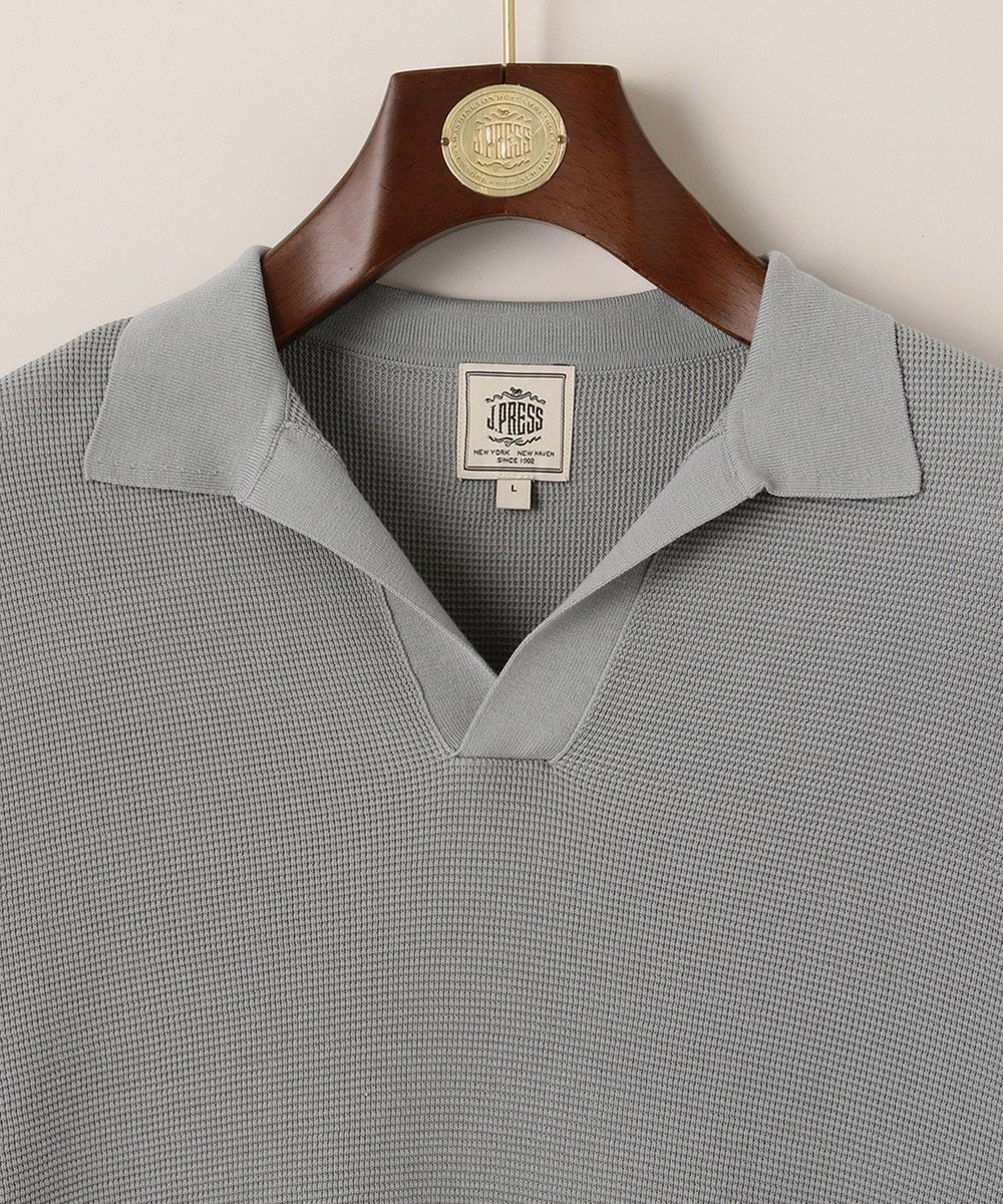 J.PRESS MEN ハイゲージスキッパー ニットポロシャツ グレー系