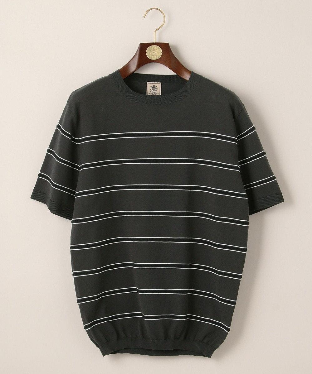 J.PRESS MEN ボーダーニットTシャツ グレー系