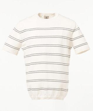 J.PRESS MEN ボーダーニットTシャツ アイボリー系
