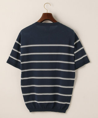 J.PRESS MEN ボーダーニットTシャツ ネイビー系