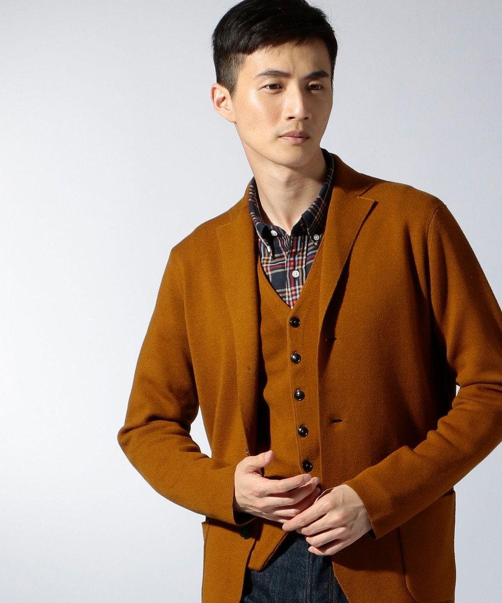 J.PRESS MEN キャッシュウール ミラノリブ ニットジャケット キャメル系