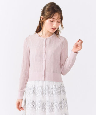 Feroux 【洗える】レーシークルー カーディガン ピンク系