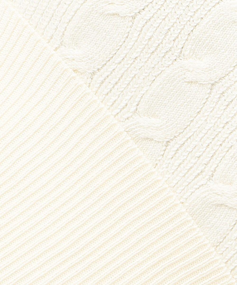 Feroux 【洗える】ラインポイントフリル ニット アイボリー系