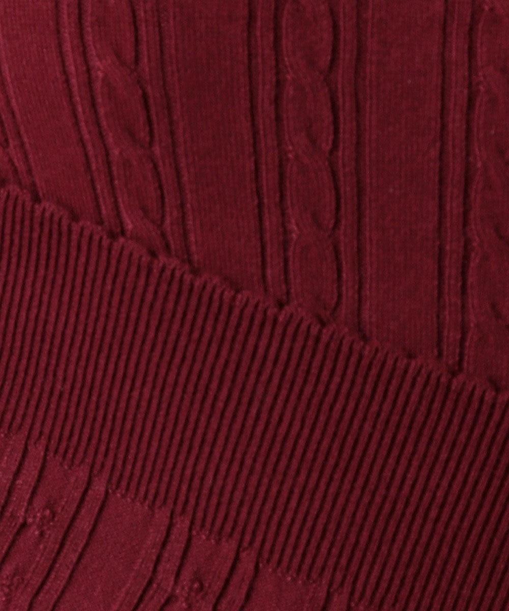 Feroux 【洗える】フリルタートルプルオーバー ニット ワイン系