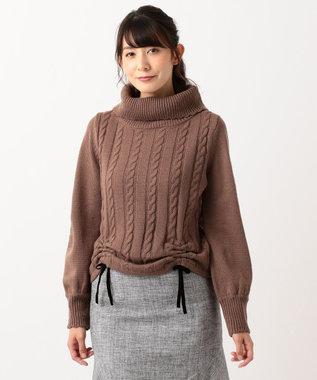 Feroux 【Ray12月号掲載】シャーリングオフタートル ニット キャメル系