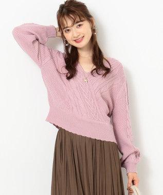 Feroux 【洗える】カシュクールケーブルプルオーバー ニット ピンク系