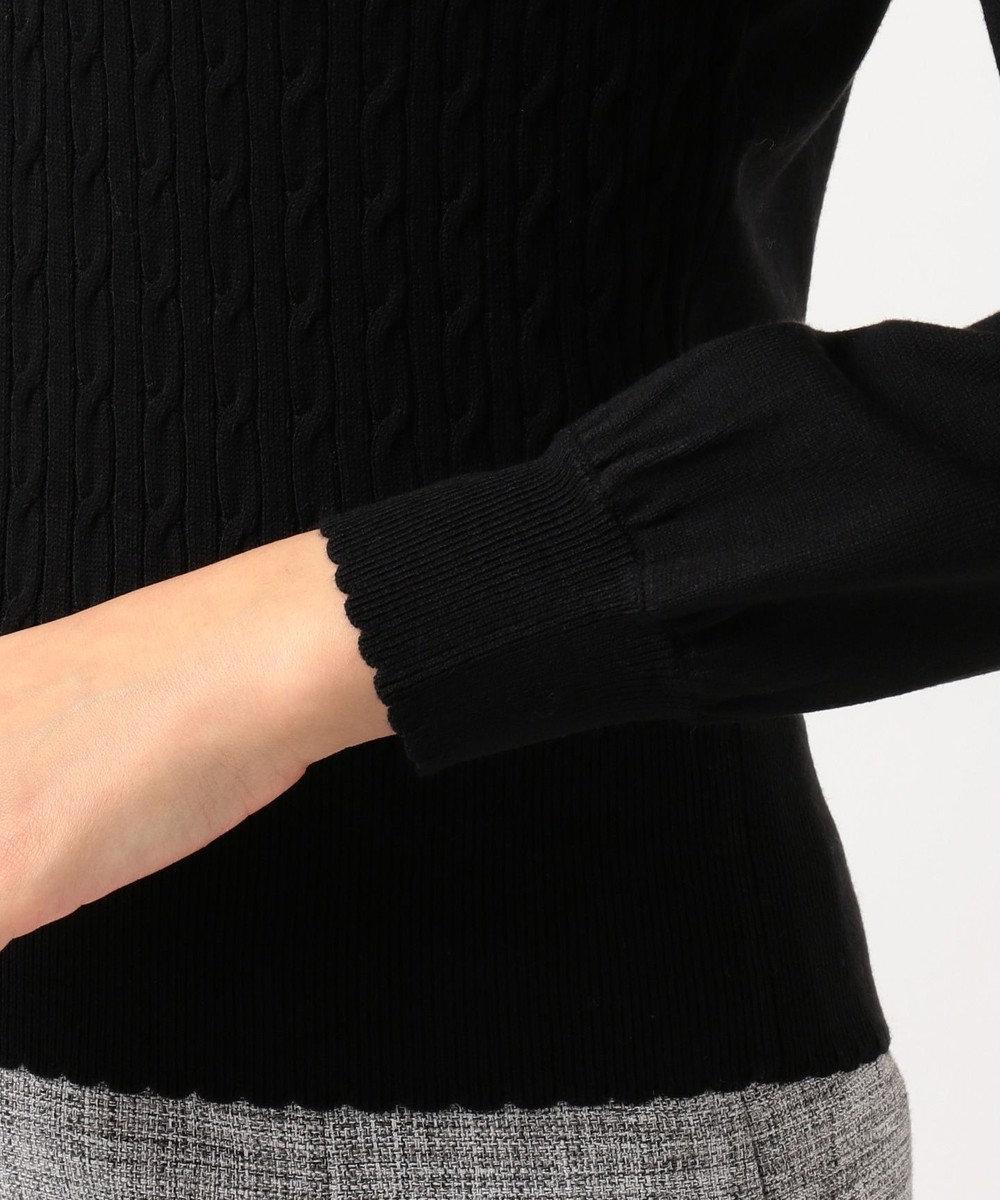 Feroux 【洗える】バイカラー衿ポイント ニット ブラック系