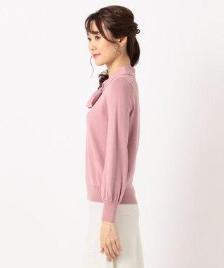 Feroux 【洗える】リボンボウタイプルオーバー ニット ピンク系