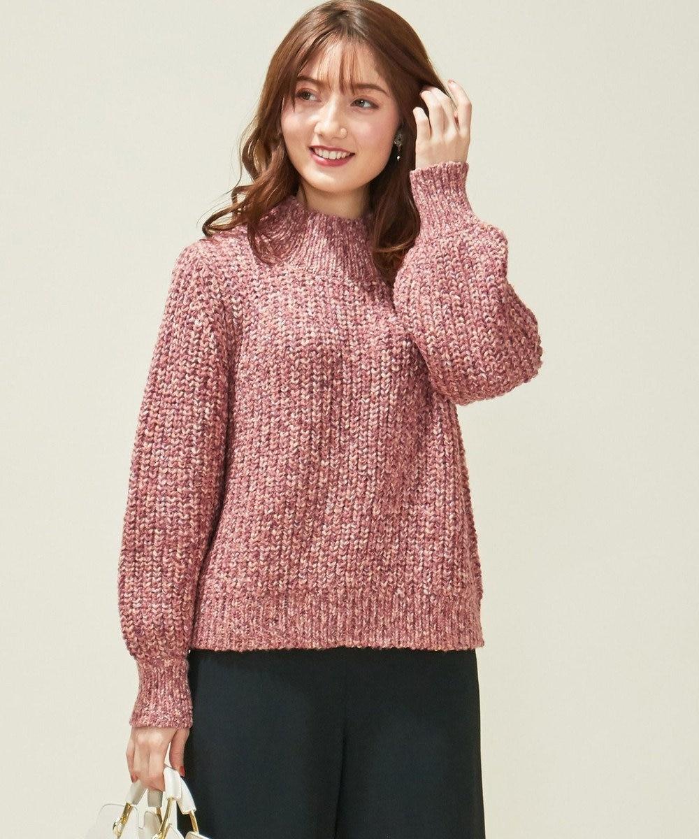 Feroux 【洗える】ミックス杢 ニット ピンク系3