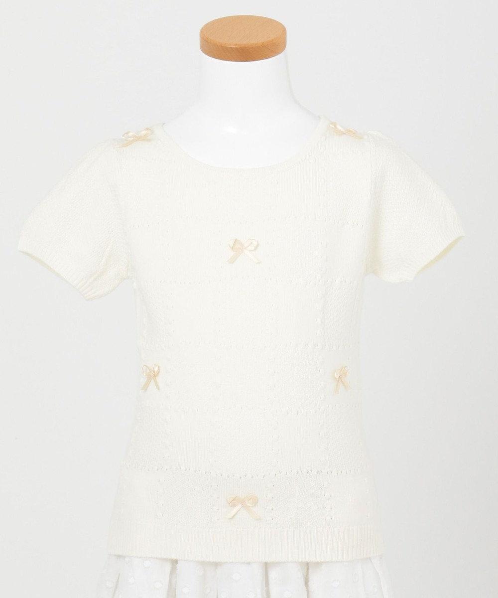 TOCCA BAMBINI 【KIDS】チェッカーリボン 半袖ニット ホワイト系