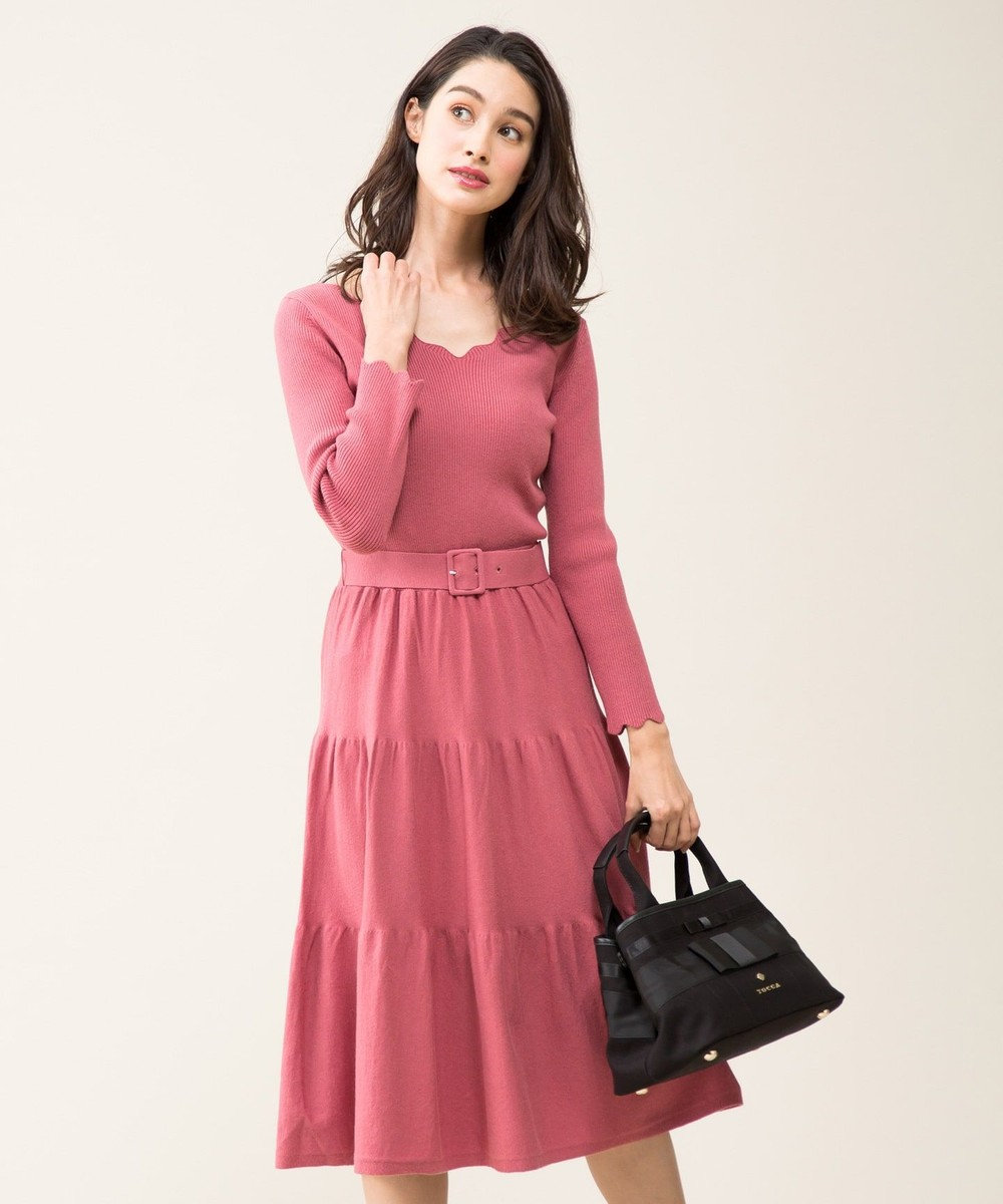 TOCCA 【WEB限定カラー有】TIERED OP ニットドレス ピンク系