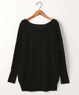 自由区 【UNFILO】KATE FETHER MIX 襟フェザー ニット ブラック系