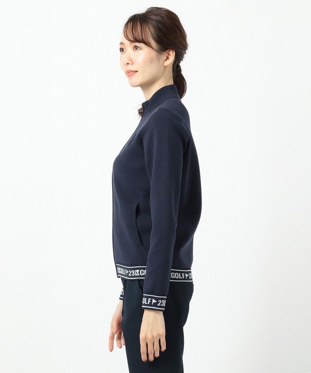 23区GOLF 【WOMEN】【UV】綿ポリエステル ニットブルゾン ネイビー系