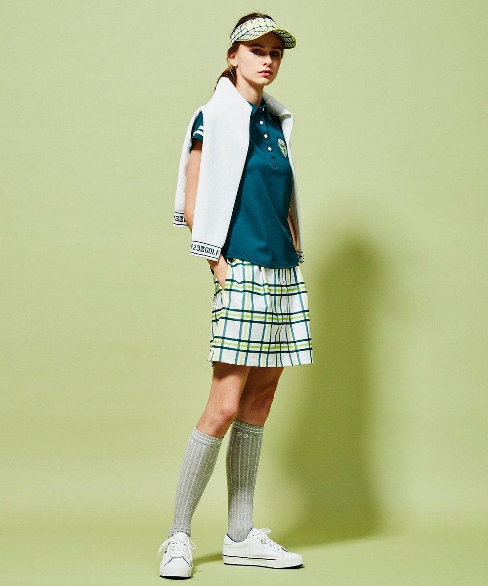 23区GOLF 【WOMEN】【UV】綿ポリエステル ニットブルゾン ホワイト系