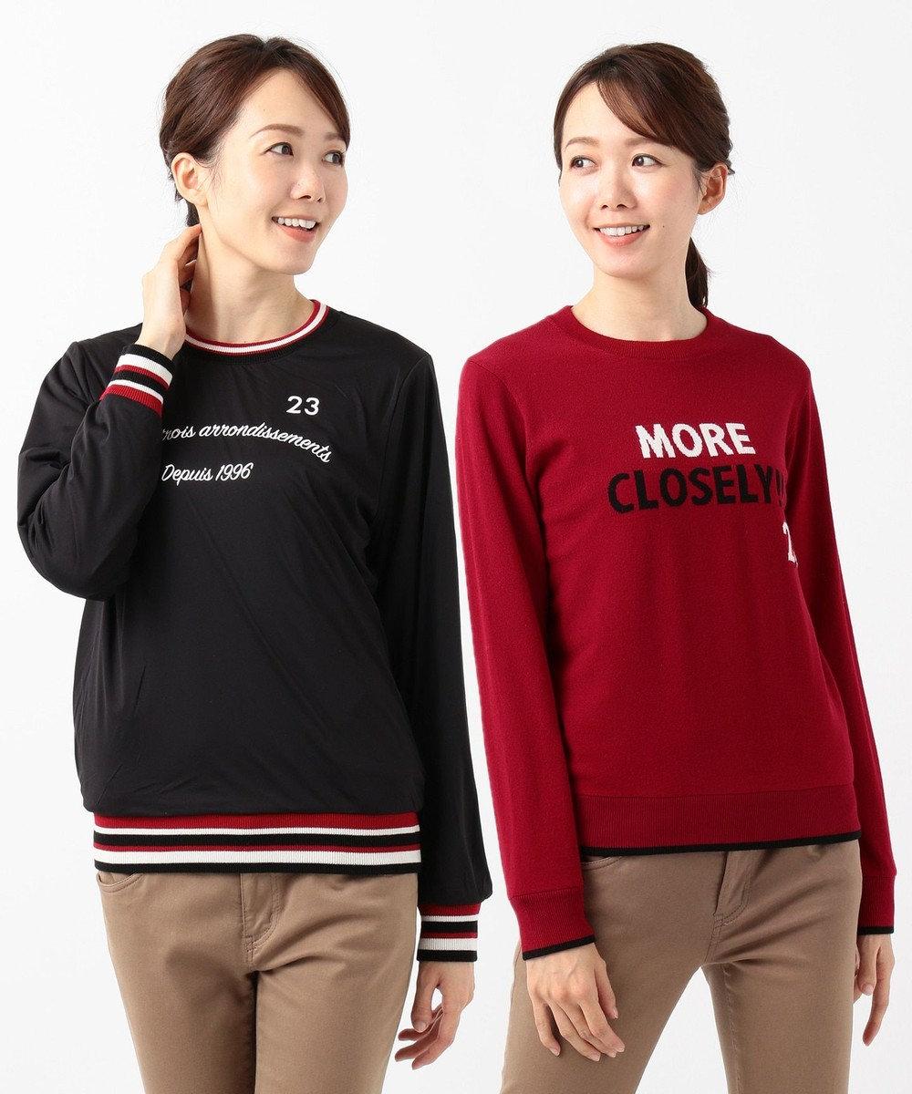 23区GOLF 再入荷!【WOMEN】【リバーシブル/防風】 カラー ブルゾン/ニット レッド系