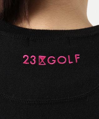 23区GOLF 【WOMEN】アーガイル柄 クルーニット ブラック系
