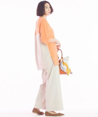 自由区 L 【洗える】ホールガーメント バイカラーニット オレンジ系