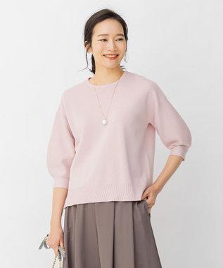 自由区 【Sサイズ有/洗える】コットンアセテート パフスリーブニット ピンク系