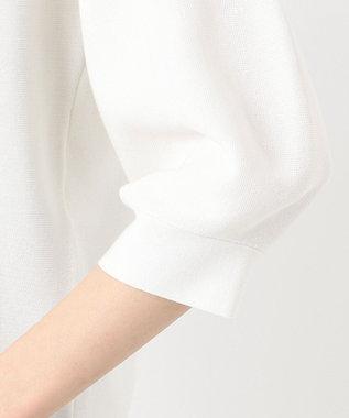 自由区 【Sサイズ有/洗える】コットンアセテート パフスリーブニット ホワイト系