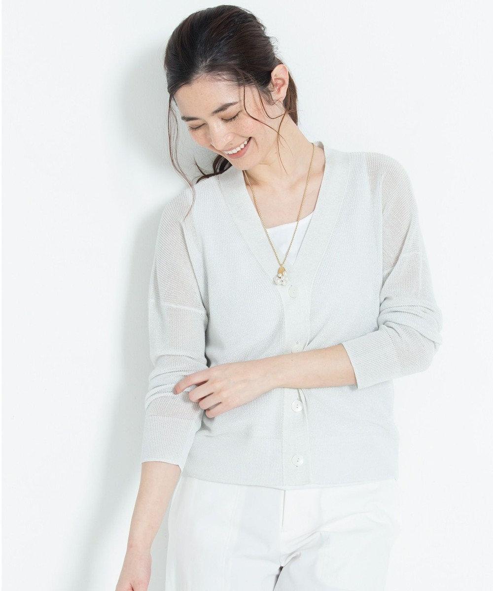 自由区 【新色追加】ラミーテンセル Vネックカーディガン(検索番号F45) ホワイト
