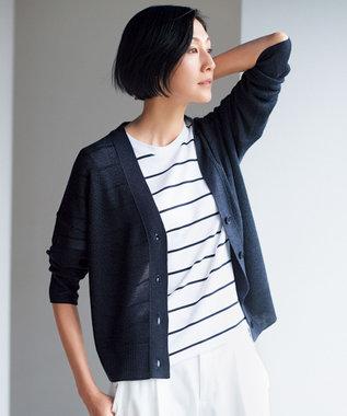 自由区 【新色追加】ラミーテンセル Vネックカーディガン(検索番号F45) ネイビー