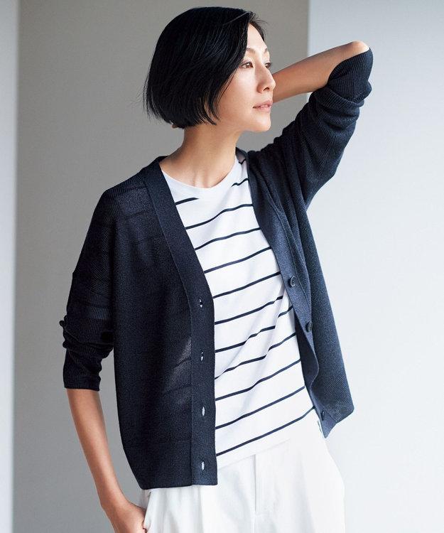 自由区 【新色追加】ラミーテンセル Vネックカーディガン(検索番号F45)